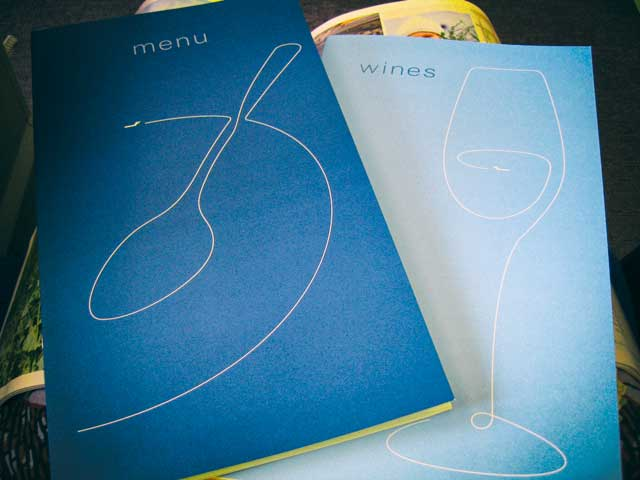 menu and wines at Finnair business class 2006